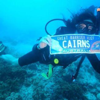 Katie diving great barrier reef