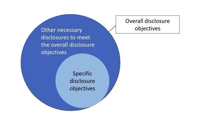 Relationship between overall disclosure objectives and specific disclosure objectives