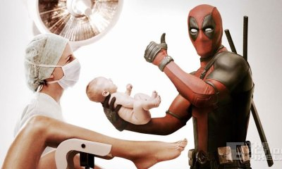 deadpool delivering baby mothers day. the action pixel. @theactionpixel. 20th century fox.