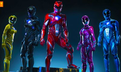 Becky G ,Trini, yellow ranger, rj cyler, billy, blue ranger, naomi scott, kimberly, pink ranger, ludi lin, zack, black ranger, dacre montgomery, jason, red ranger, elizabeth banks, rita repulsa, power rangers, the action pixel, saban, new suits, reboot, costume, armor