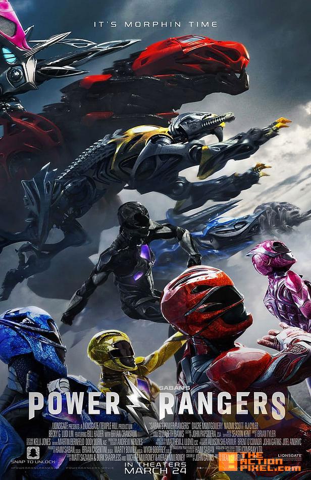 Becky G ,Trini, yellow ranger, rj cyler, billy, blue ranger, naomi scott, kimberly, pink ranger, ludi lin, zack, black ranger, dacre montgomery, jason, red ranger, elizabeth banks, rita repulsa, power rangers, the action pixel, saban, power rangers. saban, logo, movie, entertainment on tap, the action pixel, @theactionpixel, bryan cranston, zordon,power rangers, saban, the action pixel, zords, poster,