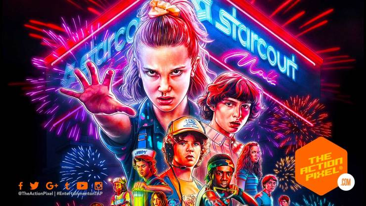 stranger things , stranger things 3, poster, netflix, entertainment on tap, the action pixel, 1980, 1985, stranger things 3 poster, stranger things poster, stranger things 3 trailer, hawkins, summer in hawkins, stranger things 3, stranger things season 3, the action pixel,