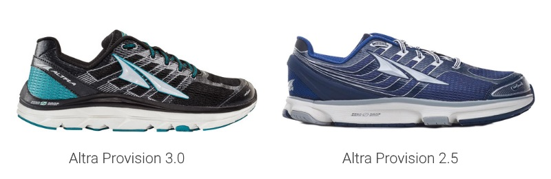 Altra Provision 3 and 2.5 Compare