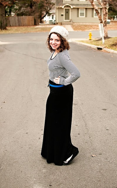 Winter Maxi Skirt, Beanie, Gap Belt and Striped Shirt
