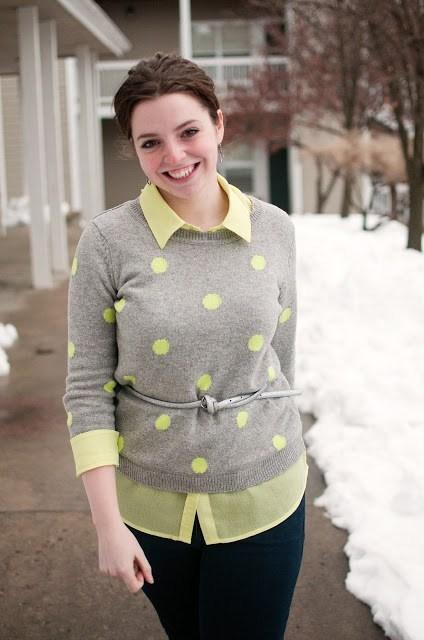 Forever 21 Neon Polka Dot Sweater