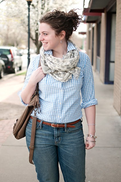 Blue gingham and leopard Scarf