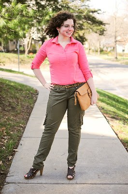 Pink Top with Olive Pants Outfit