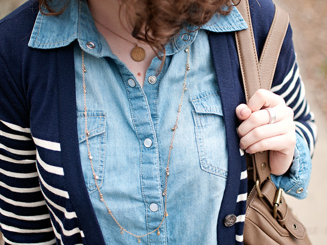 Chambray and Cardigan Outfit