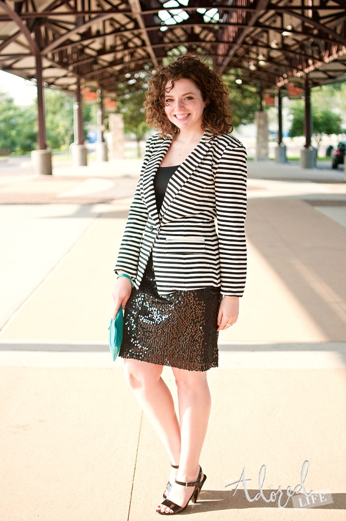 Black and white striped blazer and sequin skirt