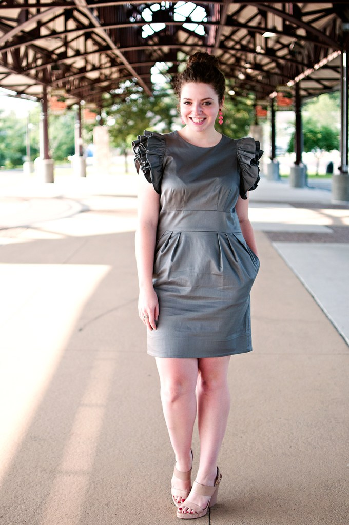Ruffled Sleeve Grey Dress
