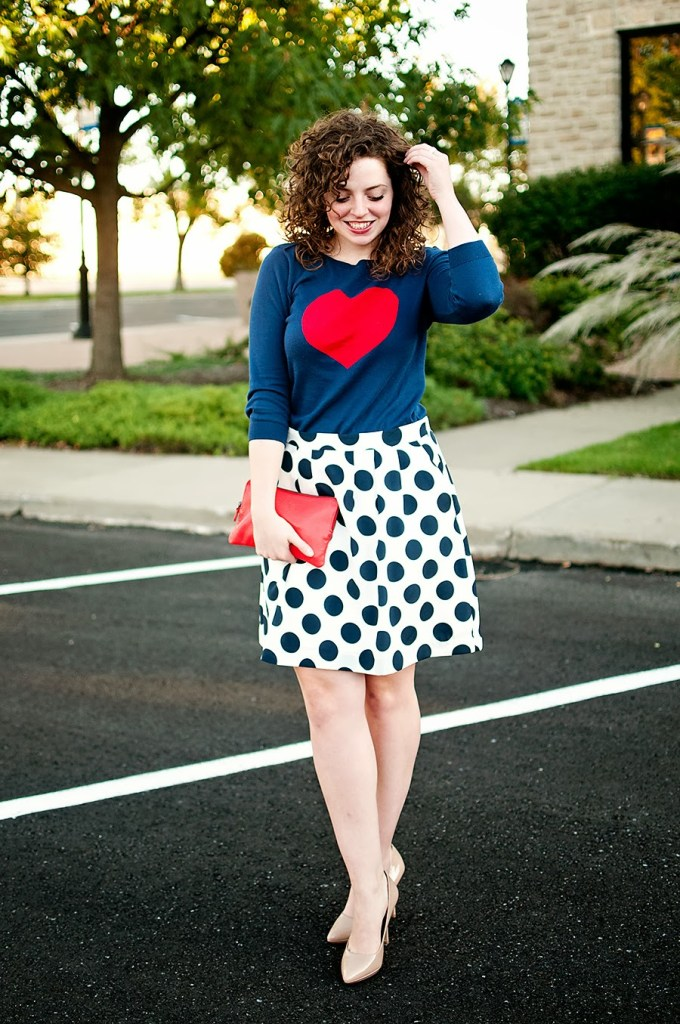 Polka dot skirt with heart sweater