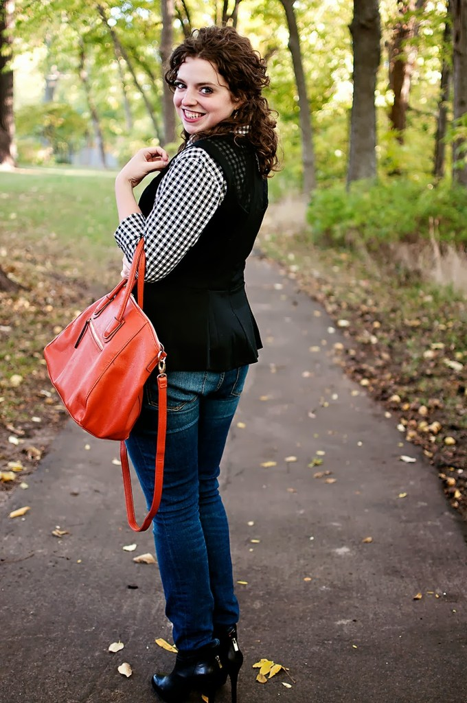Gingham and peplum outfit with jeans