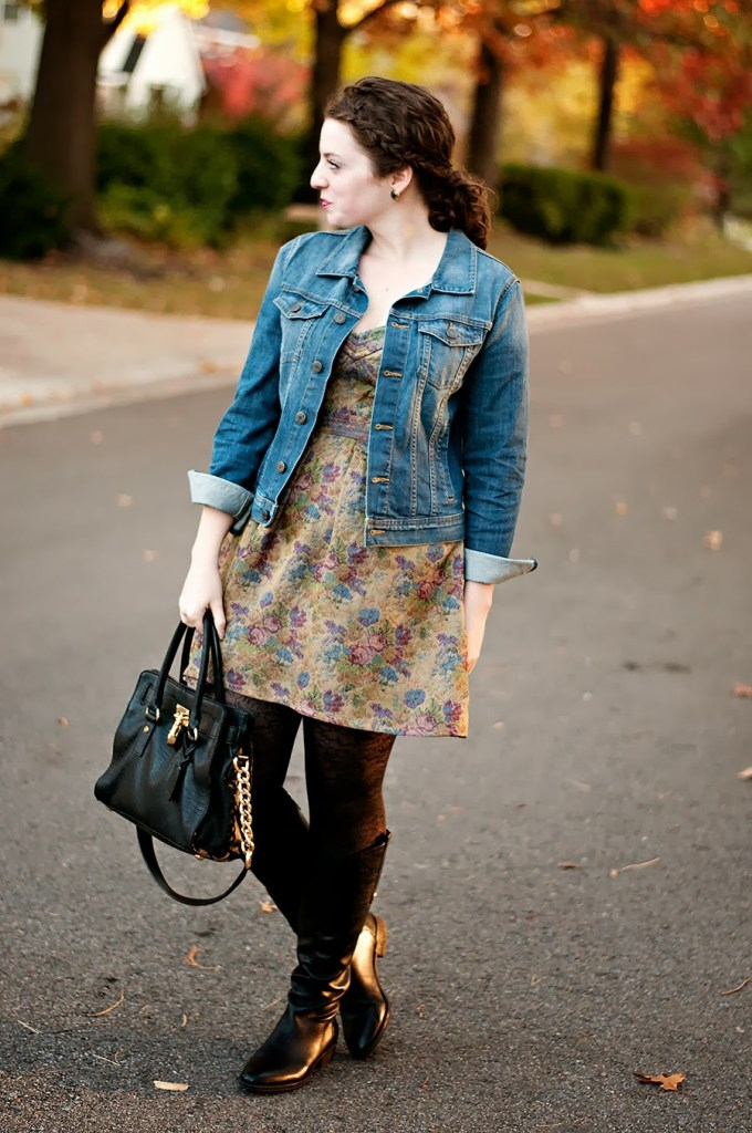 Fall Dress with Denim Jacket and Boots