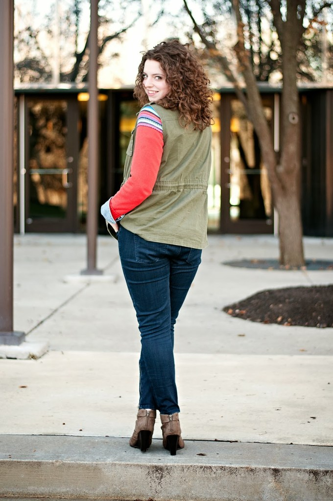 Fair Isle Layered Sweater Casual Outfit