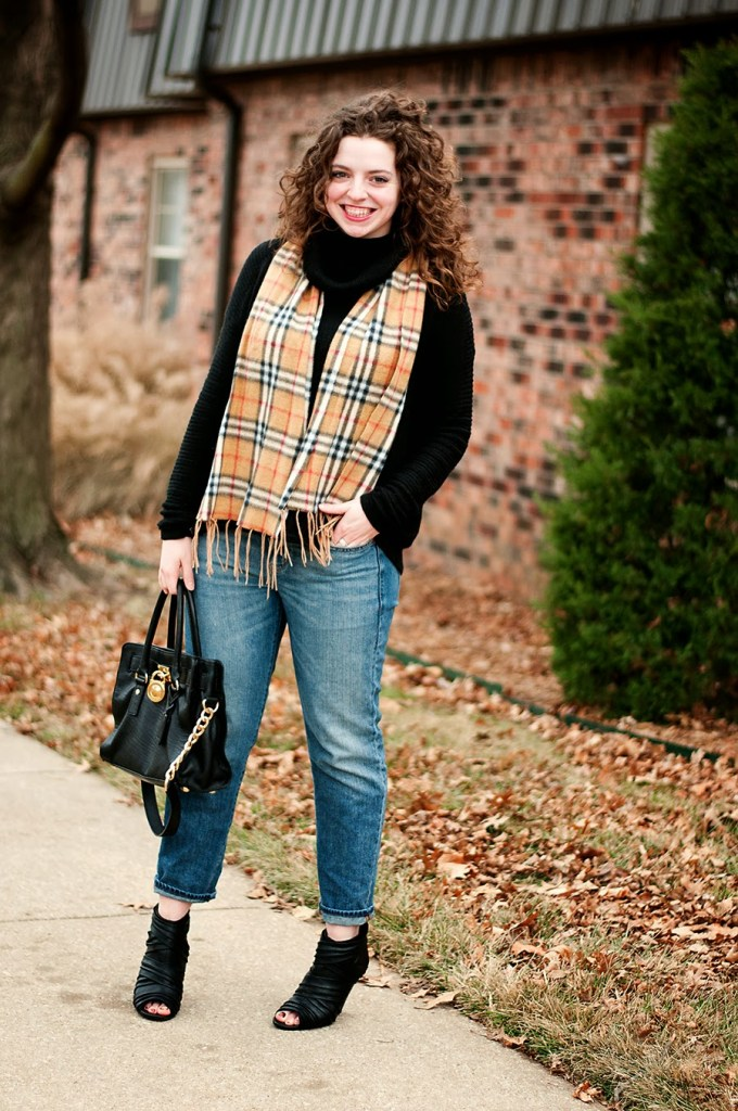 Winter Casual Outfit with Burberry Inspired Scarf