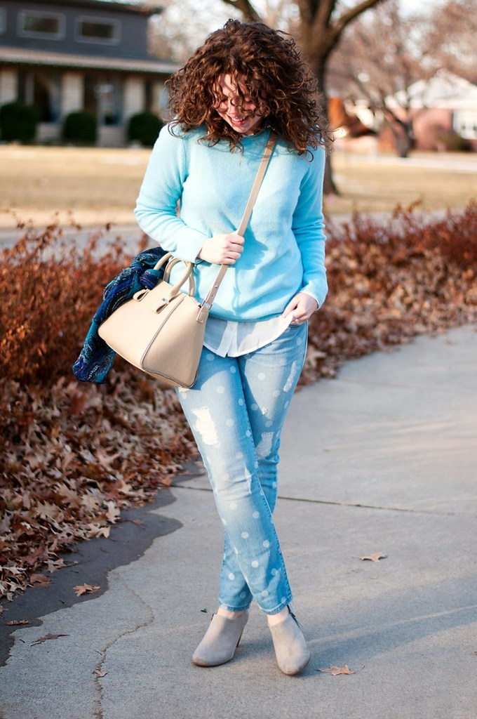 Gap Polka Dot Jeans with Blue Sweater