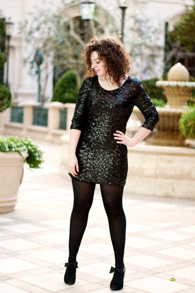 Black Sequin Mini Dress with Tights