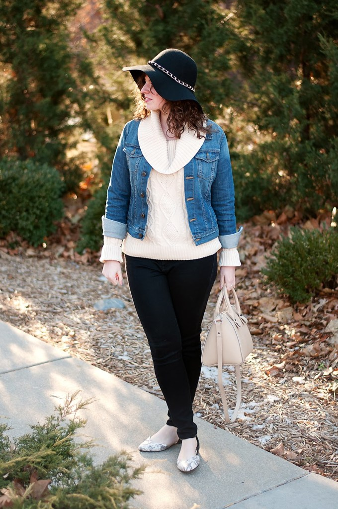 Cream Cable Knit Sweater with hat and denim jacket