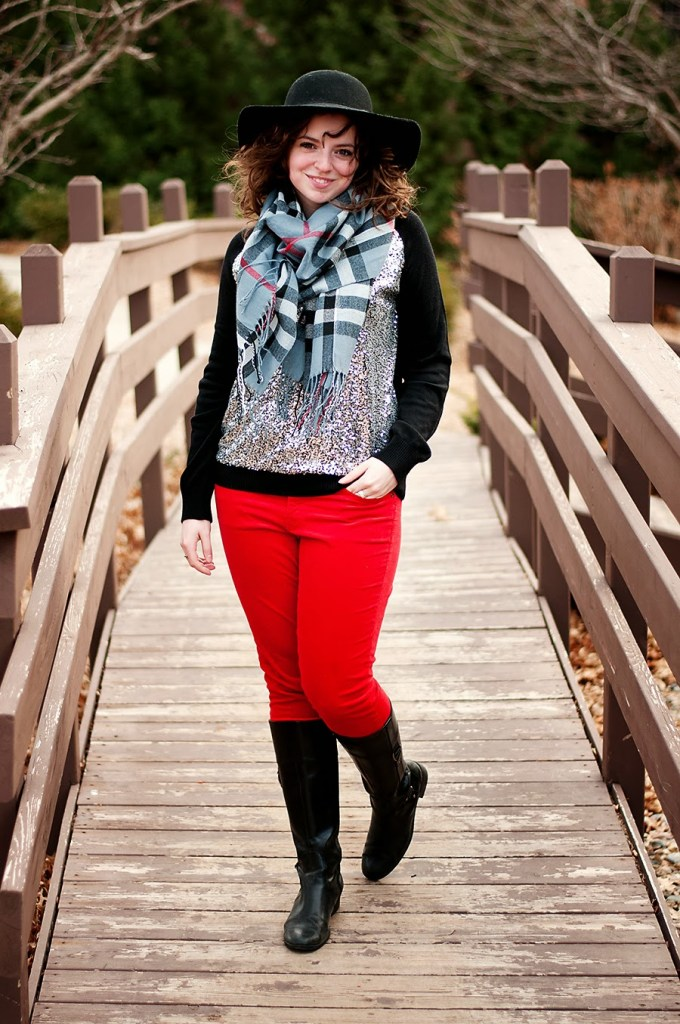 Black and silver sequin sweater with winter scarf