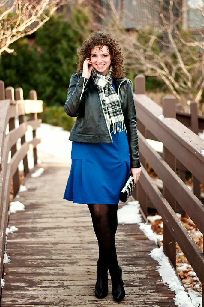 Cobalt, black and white  date night outfit
