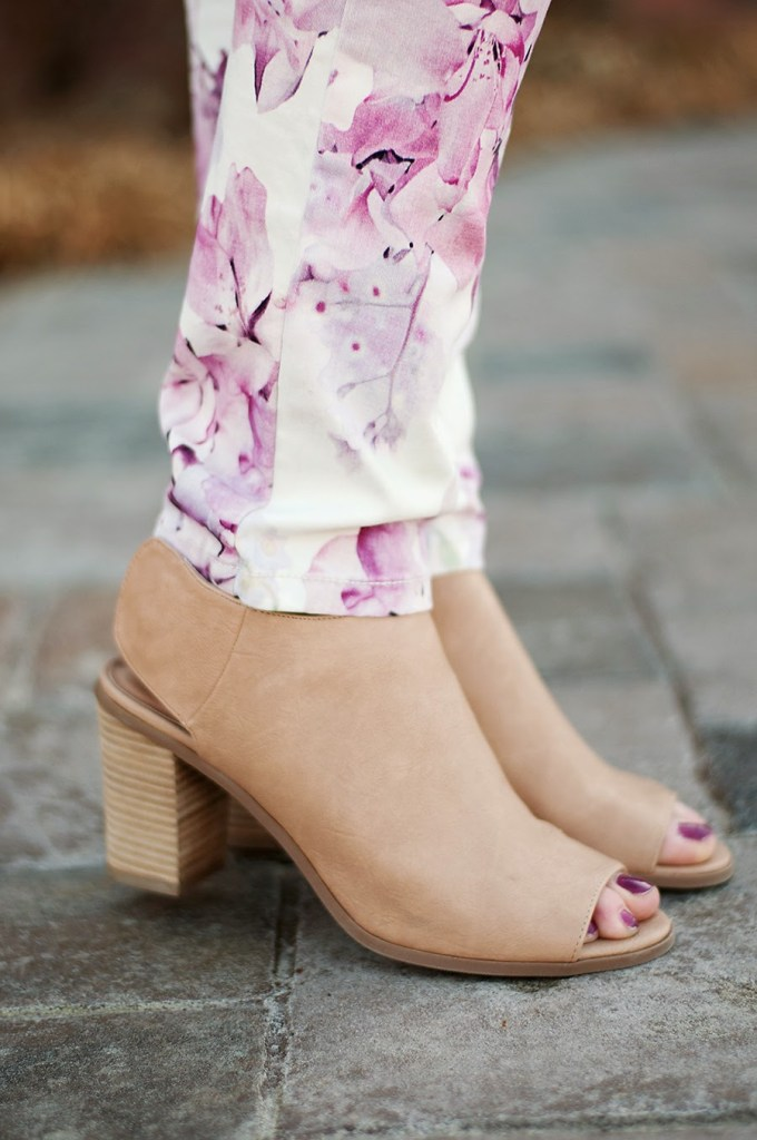 opened toed booties with floral pants