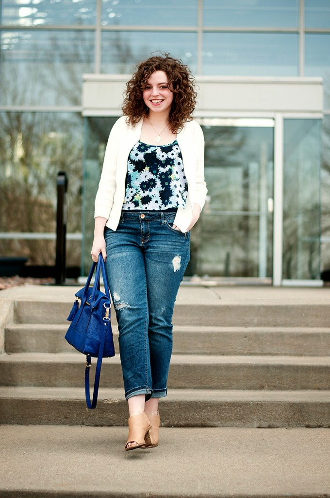 Spring florals with with white sequin jacke