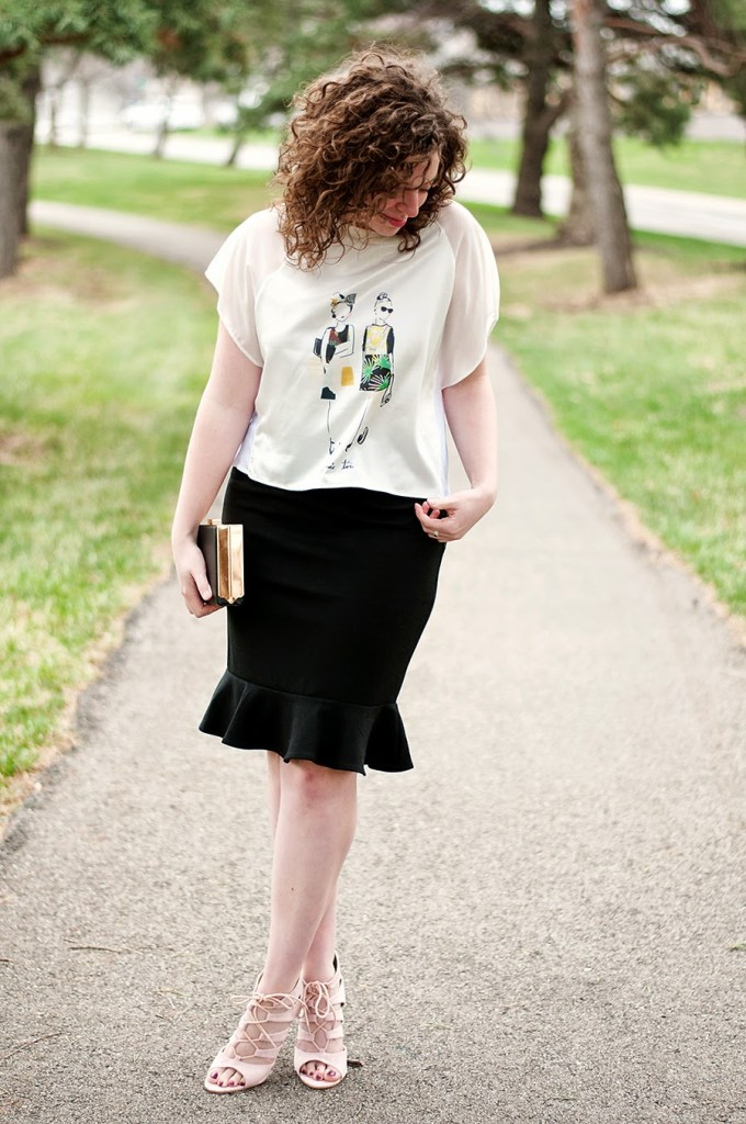 Zara Fashion Shirt and Fitted Skirt