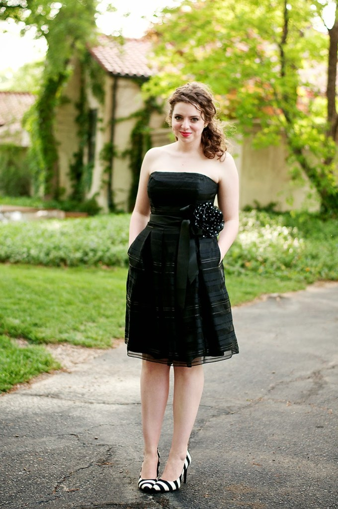 Black and white graduation dress with polka dot belt
