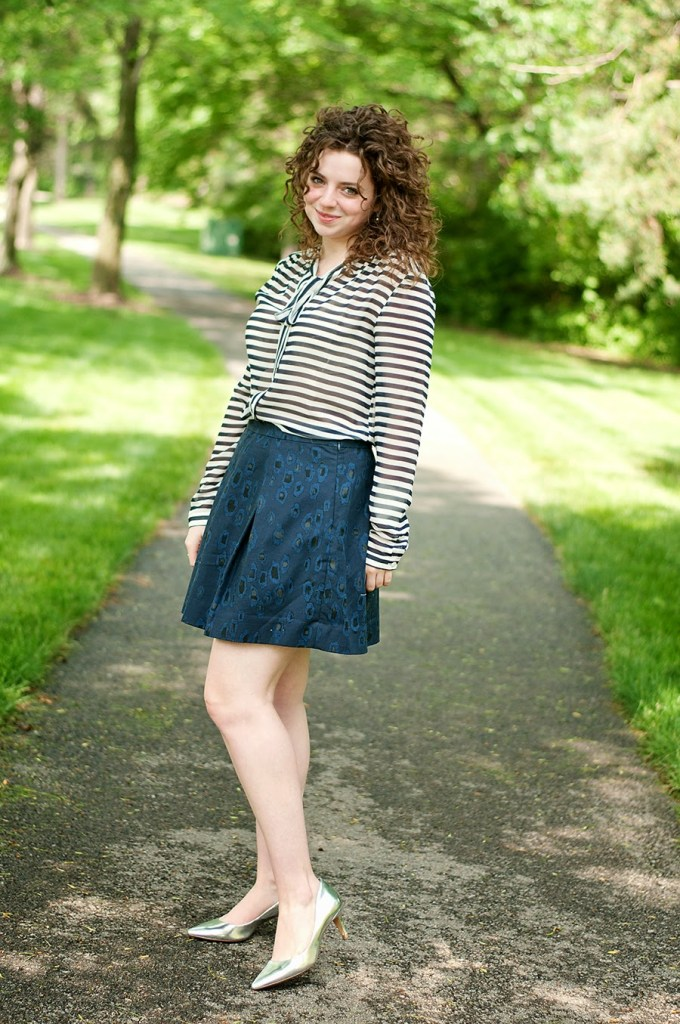 Striped bow blouse with ikat circle skirt