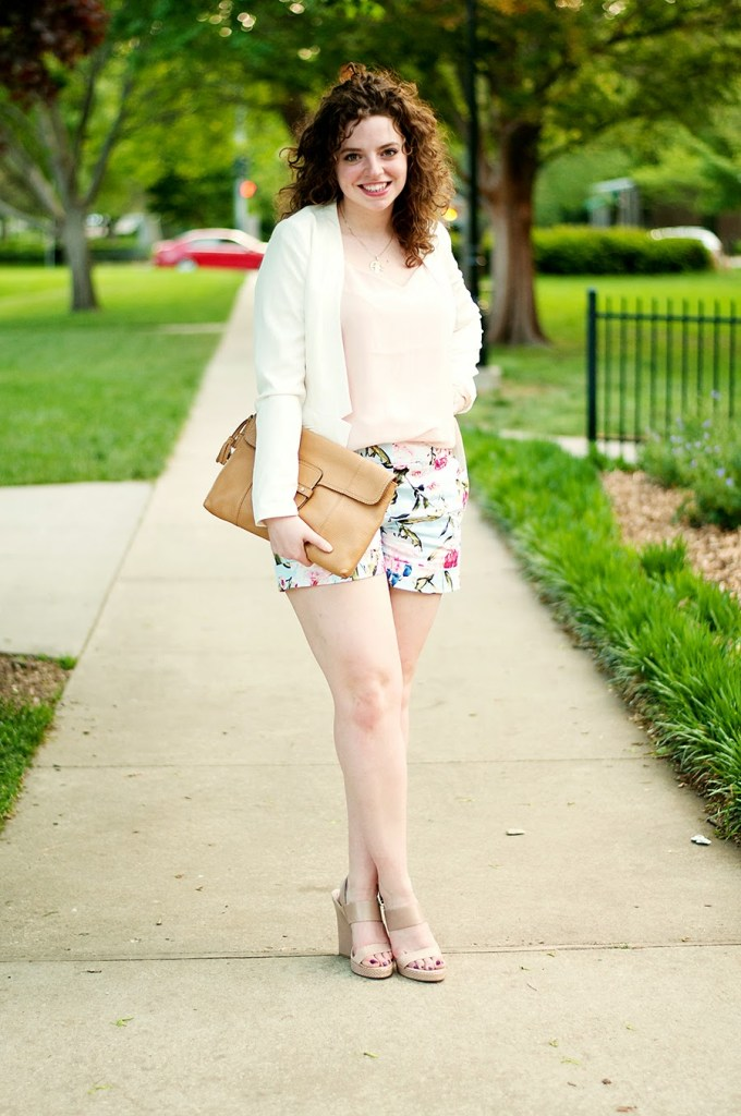 Floral shorts with white blazer and pink tank