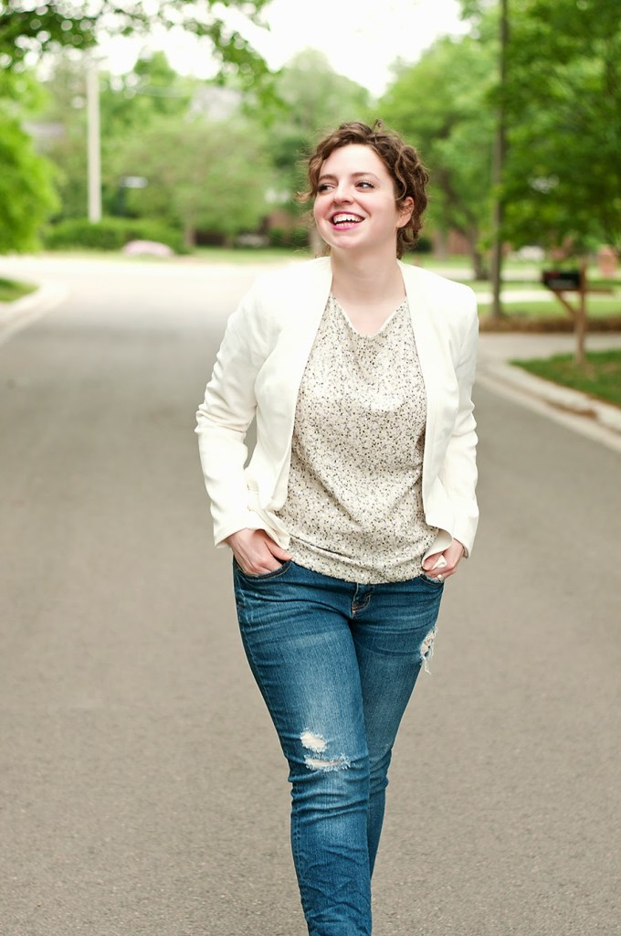 Sequin shirt with white blazer and boyfriend jeans