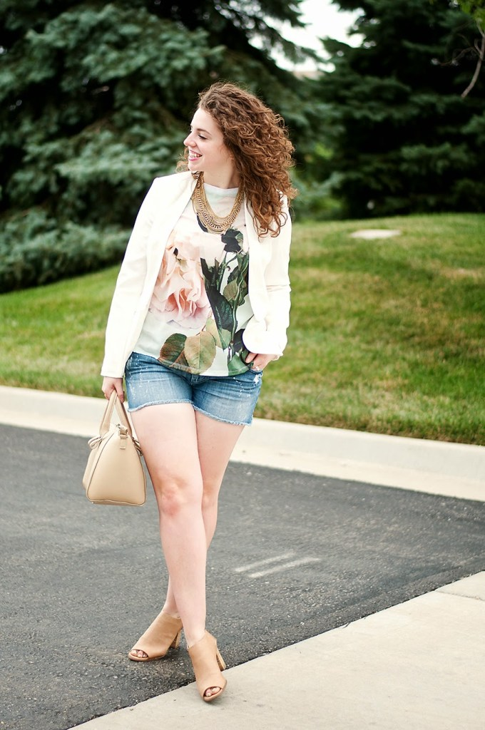 Graphic shirt with blazer and denim shorts