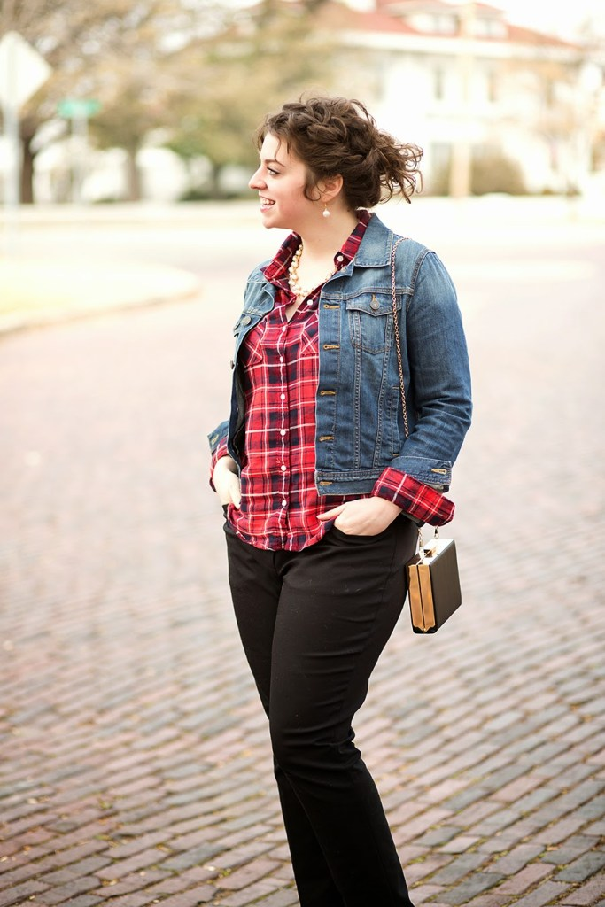 Plaid and denim for a elevated casual look // theadoredlife.com