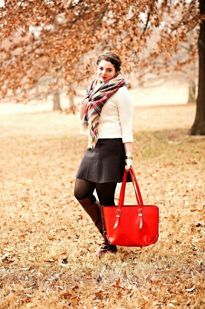 Plaid Blanket Scarf Zara Outfit Idea