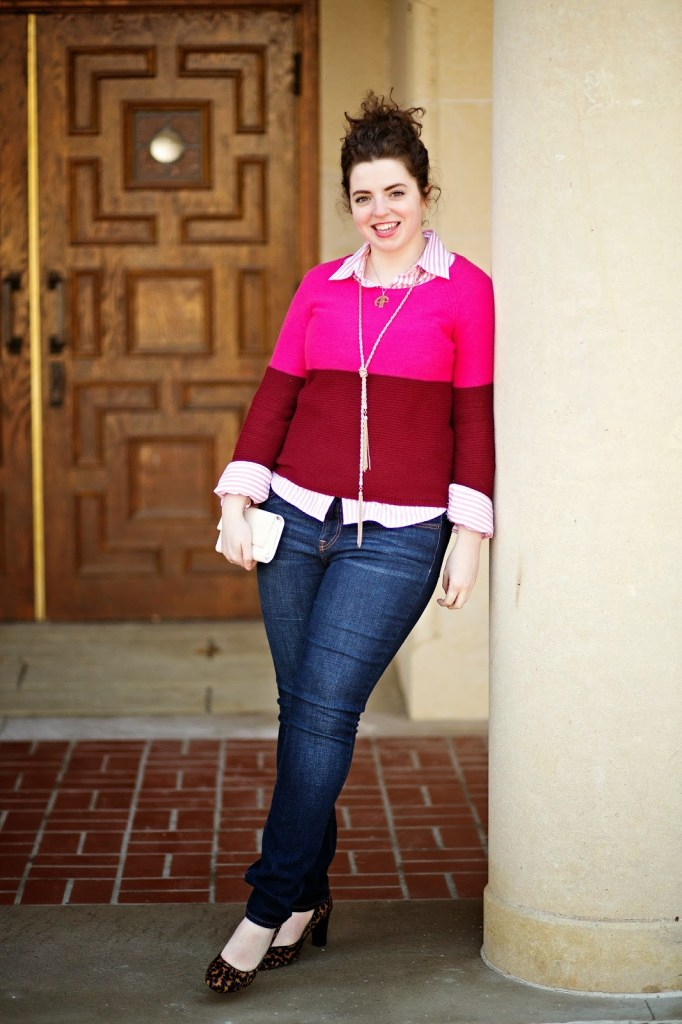 Pink Sweater Outfit Idea with Layering