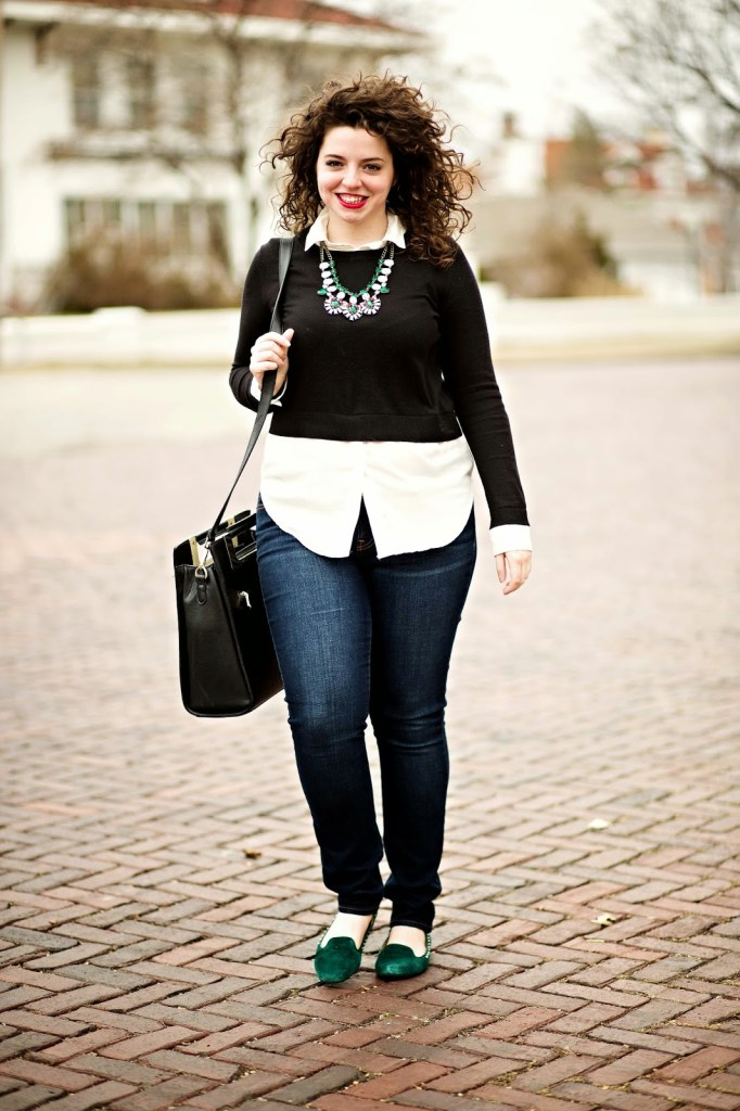 Black and white crop top with jeans and a statement necklace