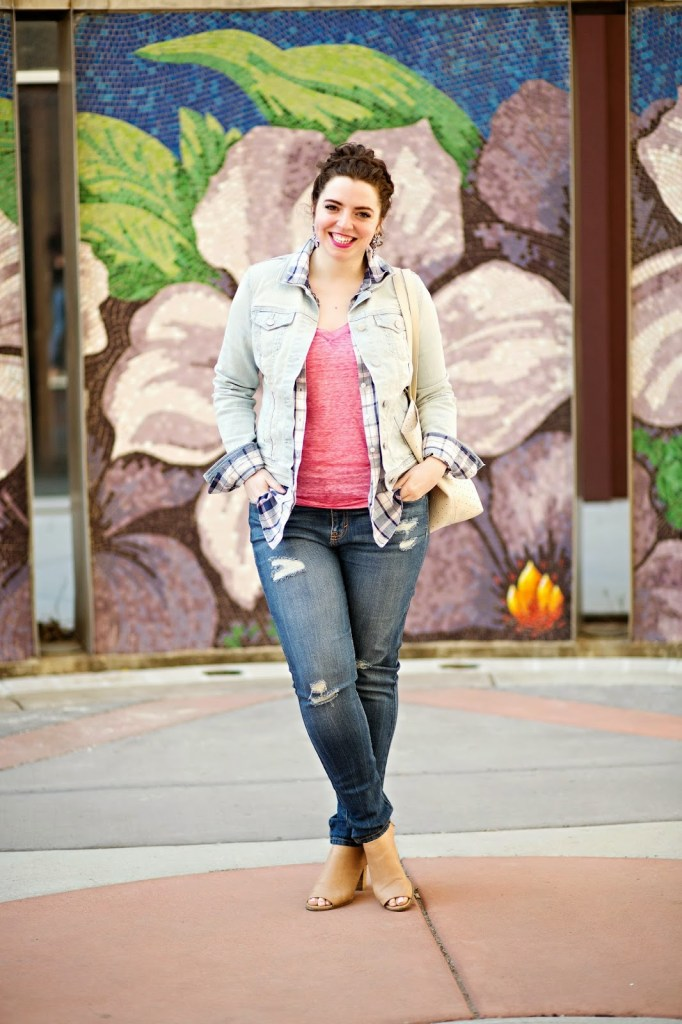 Break up a denim on denim outfit with a plaid shirt and easy t-shirt for a spring casual look.