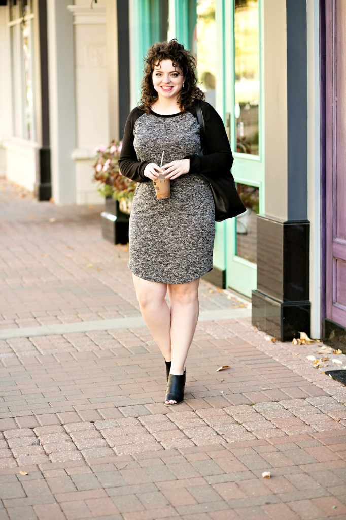 Winter Jersey Dress that Is Curve Hugging and So Flattering!