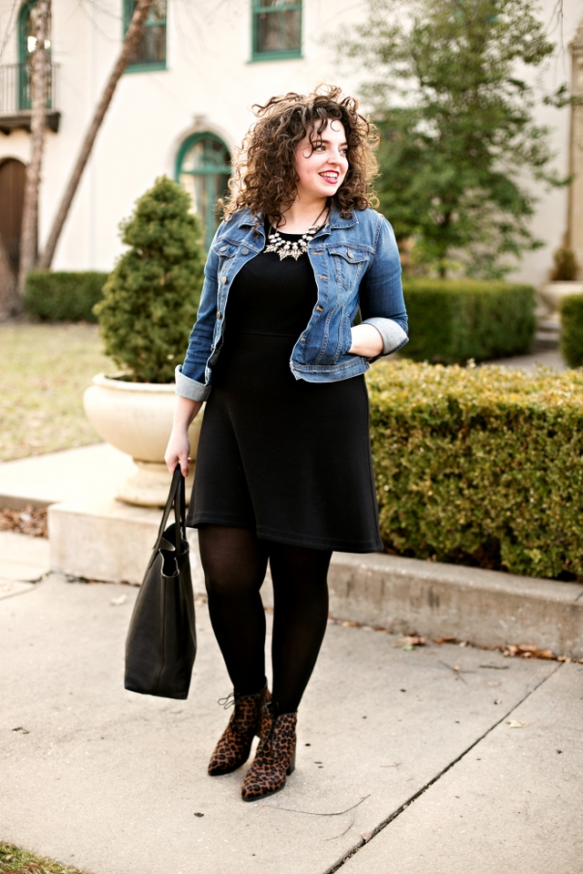 The little black dress done right in this Madewell dress with denim jacket, tote bag and statement booties!