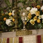 monstrance on the altar for Corpus Christi