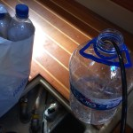Using our watermaker to fill water bottles