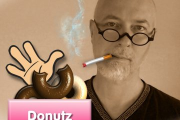 Kraig Robson Smoking a Cigarette and Eating a Donut