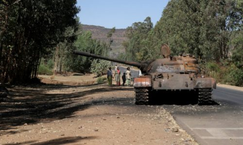 A burned tank stands near the town of Adwa, Tigray region, Ethiopia.