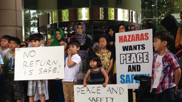 Protesters say a Hazara asylum seeker faces death if returned.