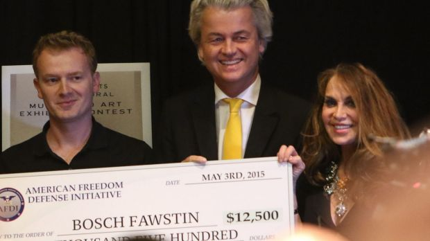 Artist Bosch Fawstin, left, is presented with a check by Dutch politician Geert Wilders, centre, and Pamela Geller, right, during the American Freedom Defense Initiative program that was marred by a shooting.