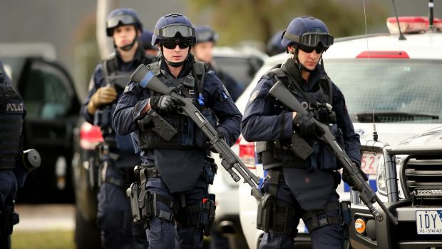 Victoria Police Special Operations Group (SOG) members are seen outside the Metropolitan Remand Centre in Ravenhall.