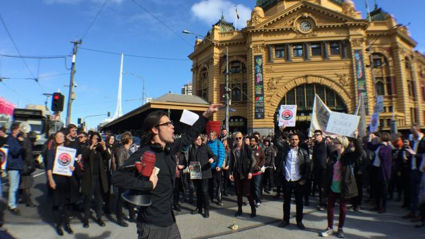 Protesters rally against the Australian Border Force in Melbourne.