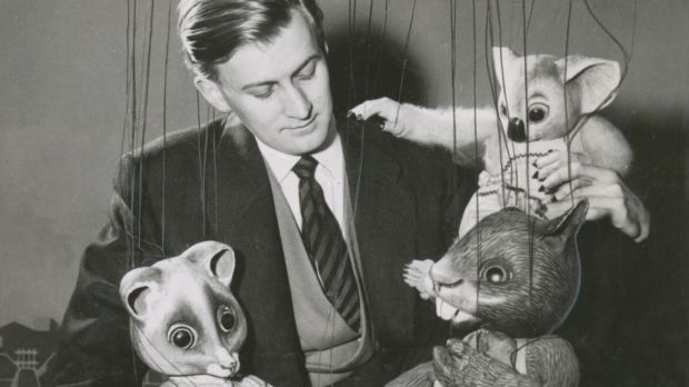 Puppeteer Peter Scriven with the Tintookies in 1957.