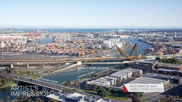 The proposed new bridge over the Maribyrnong River, which forms part of the Western Distributor project.