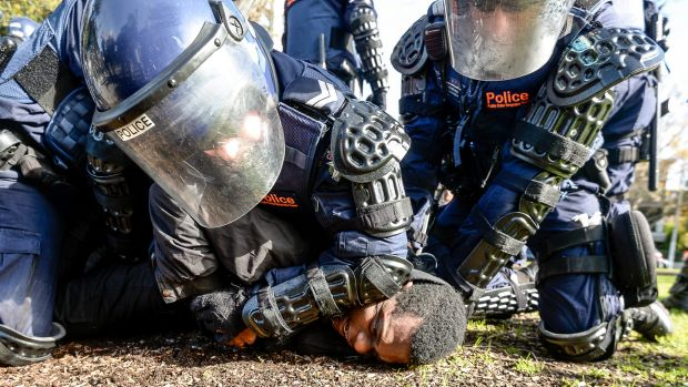 A protester was arrested by riot police after damaging an Age photographer's camera.